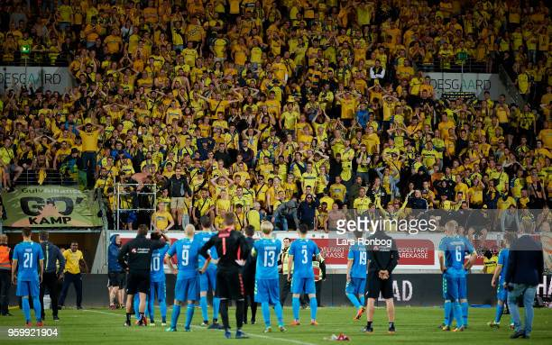 Fans looking dejected after the Danish Alka Superliga match between AC Horsens and Brondby IF at CASA Arena Horsens on May 18 2018 in Horsens Denmark