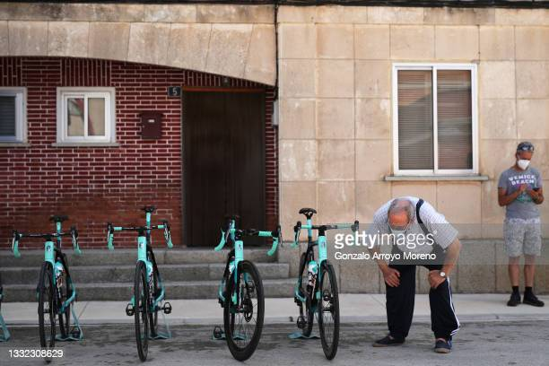Fans looks at Team BikeExchange's Bianchi bikes prior to the 43rd Vuelta a Burgos 2021, Stage 2 a 175km stage from Tardajos to Briviesca /...