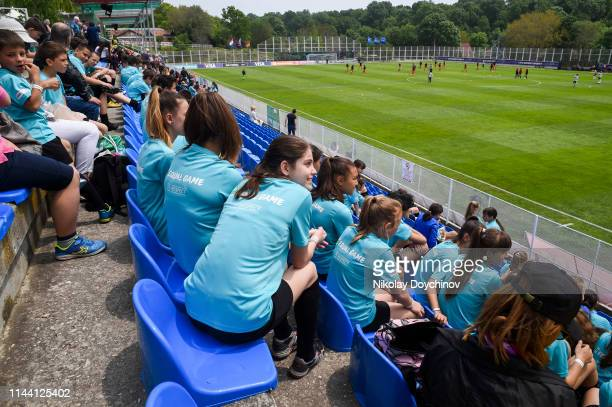 Fans looks at the players prior to the 2019 UEFA Women's Under17 EURO final match between Netherlands and Germany at Stadion Albena1 on May 17 2019...