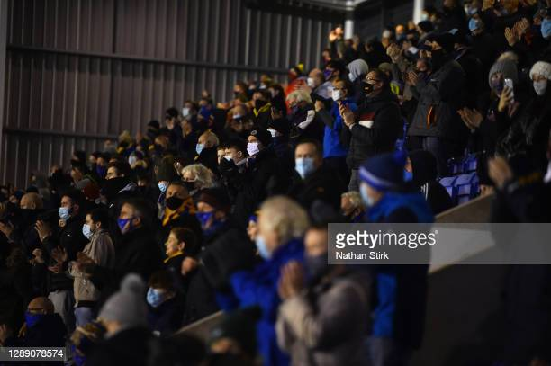 Fans looks on during the Sky Bet League One match between Shrewsbury Town and Accrington Stanley at Montgomery Waters Meadow on December 02, 2020 in...
