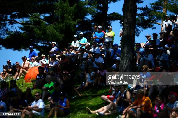 Fans looks on from the ninth green during the second round of the RBC Canadian Open at Hamilton Golf and Country Club on June 07, 2019 in Hamilton,...