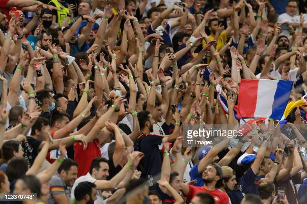 Fans make the wave during the UEFA Euro 2020 Championship Round of 16 match between France and Switzerland at National Arena on June 28, 2021 in...