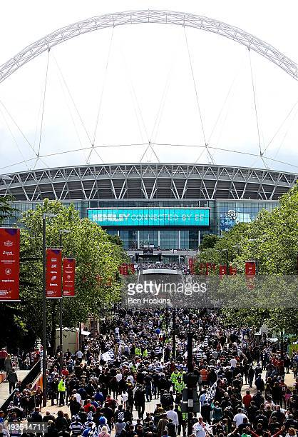 Fans make their way down Wembley Way prior to the Sky Bet Championship Playoff Final match between Derby County and Queens Park Rangers at Wembley...