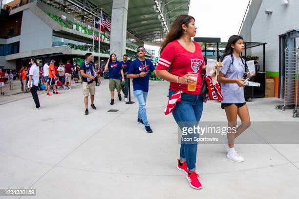 Fans make their way inside Q2 stadium prior to the Gold Cup semifinal match between the United States and Qatar on Thursday July 29th, 2021 at Q2...