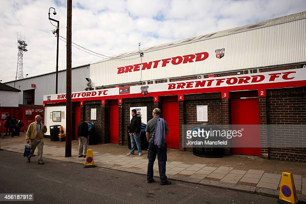 Fans make their way into the ground during the Sky Bet Championship match between Brentford and Leeds United at Griffin Park on September 27 2014 in...