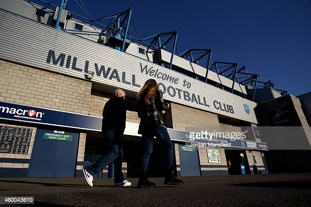 Fans make their way into the ground prior to the Sky Bet Championship match between Millwall and Middlesbrough at The Den on December 6 2014 in...