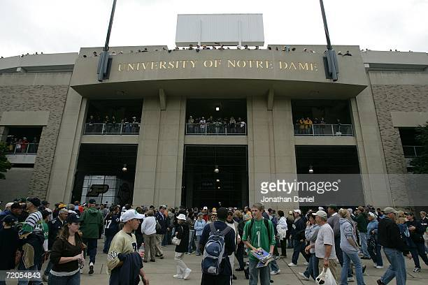 Fans make their way into the stadium for the game between the Notre Dame Fighting Irish and the Purdue Boilermakers September 30 2006 at Notre Dame...