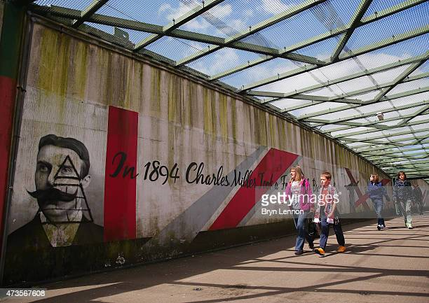 Fans make their way to the stadium ahead of the Barclays Premier League match between Southampton and Aston Villa at St Mary's Stadium on May 16 2015...