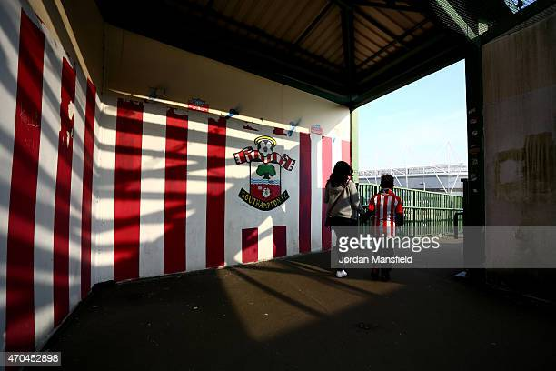 Fans make their way to the stadium ahead of the Under 21 Premier League Cup Final Second Leg match between Southampton and Blackburn Rovers at St...