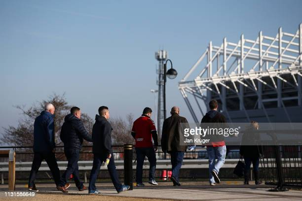 Fans make their way to the stadium during the Sky Bet Championship match between Middlesbrough and Queens Park Rangers at Riverside Stadium on...