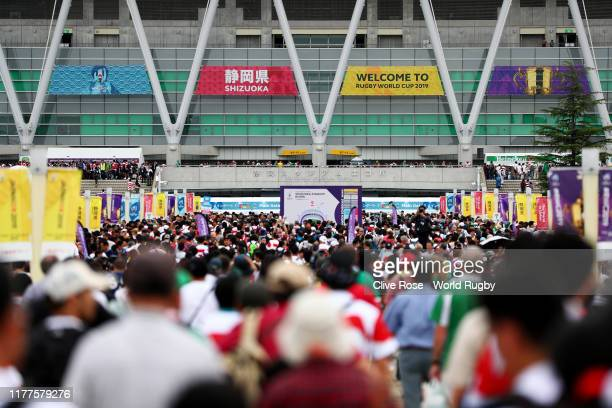 Fans make their way to the stadium prior to the Rugby World Cup 2019 Group A game between Japan and Ireland at Shizuoka Stadium Ecopa on September 28...