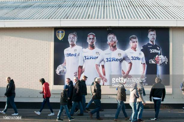 Fans make their way to the stadium prior to the Sky Bet Championship between Leeds United and Nottingham Forest at Elland Road on October 27 2018 in...