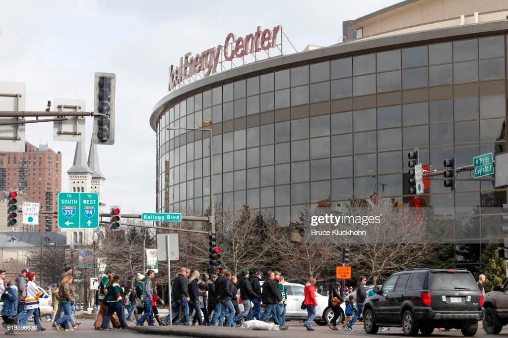 Fans make their way to the Xcel Energy Center prior to the game between the Anaheim Ducks and the Minnesota Wild on February 17, 2018 in St. Paul, Minnesota.