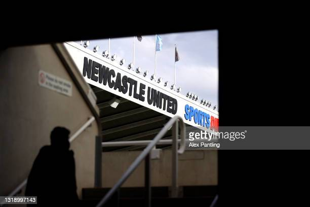 Fans make their way to their seats during the Premier League match between Newcastle United and Sheffield United at St. James Park on May 19, 2021 in...