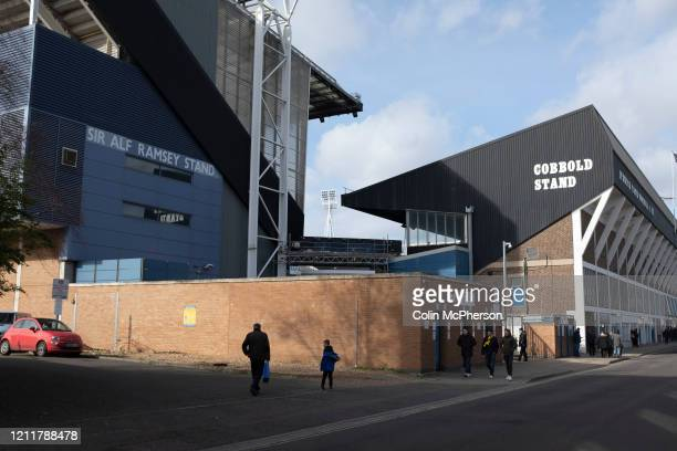 Fans making their way towards the stadium before Ipswich Town play Oxford United in a SkyBet League One fixture at Portman Road Both teams were in...