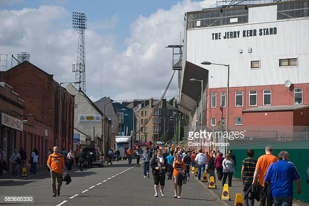 Fans making their way up Tannadice Street Dundee towards Tannadice Park home of Dundee United on the day they played host to Dunfermline Athletic in...