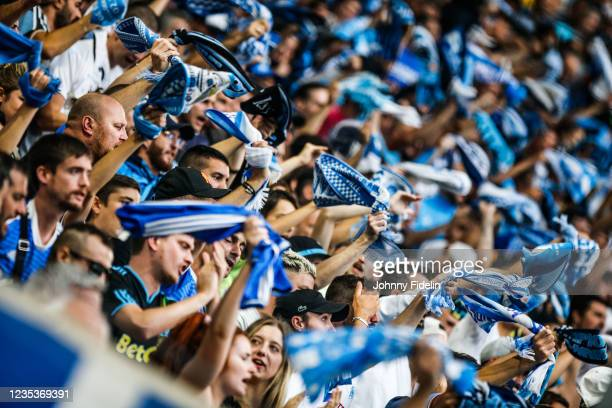 Fans Marseille during the Ligue 1 Uber Eats match between Marseille and Rennes at Orange Velodrome on September 19, 2021 in Marseille, France.