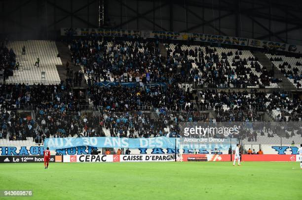 Fans Marseille Fanatics during the Ligue 1 match between Olympique Marseille and Montpellier Herault SC at Stade Velodrome on April 8 2018 in...