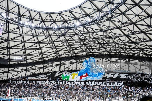 Fans Marseille with a banner for a tribute to DEPE during the Ligue 1 Uber Eats match between Marseille and Rennes at Orange Velodrome on September...