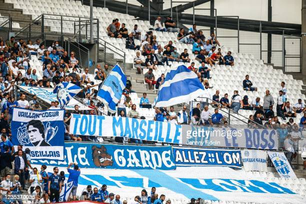 Fans Marseille with a banner for Bernard TAPIE during the Ligue 1 Uber Eats match between Marseille and Rennes at Orange Velodrome on September 19,...