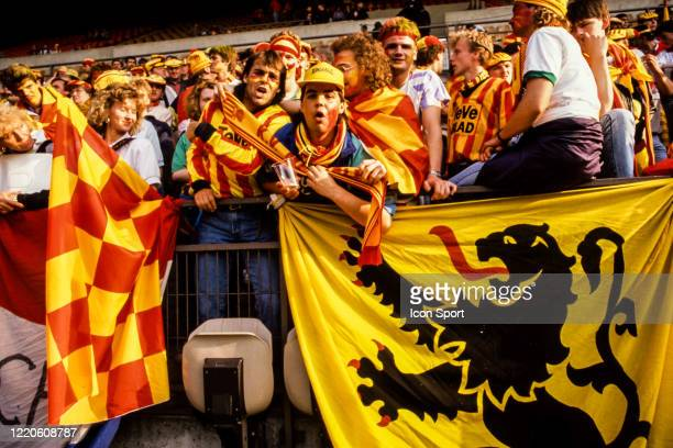 Fans Mechelen during the European Cup Winners Cup Final match between Mechelen and Ajax Amsterdam La Meinau Stadium Strasbourg France on 11 May 1988