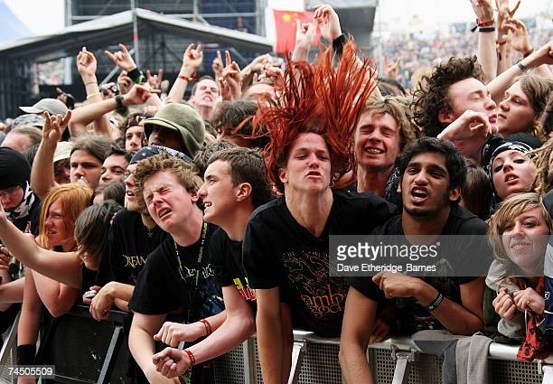 Fans mosh in front of the main stage during day three of the Download Festival on June 10 2007 in Donington Park England