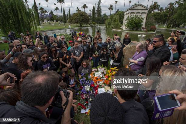 Fans mourn graveside after funeral services for Soundgarden frontman Chris Cornell at Hollywood Forever Cemetery on May 26 2017 in Hollywood...