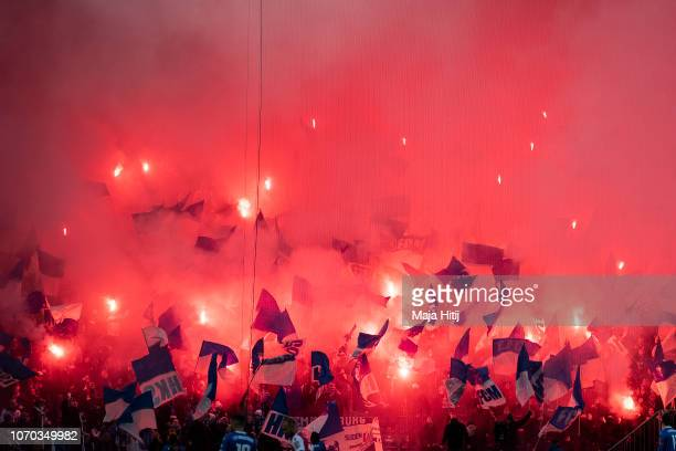 Fans of 1FC Magdeburg battle using fireworks during the Second Bundesliga match between 1 FC Magdeburg and 1 FC Union Berlin at MDCC Arena on...