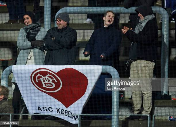 Fans of AaB Aalborg having fun during the Danish Alka Superliga match between Lyngby BK and AaB Aalborg at Lyngby Stadion on December 2 2017 in...
