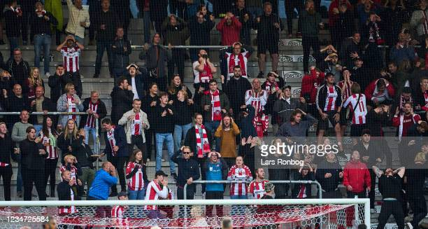 Fans of AaB Aalborg showing emotions during during the Danish 3F Superliga match between Vejle Boldklub and AaB Aalborg at Vejle Stadion on August...