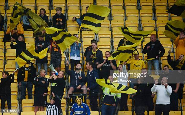 Fans of AC Horsens cheer during the Danish Alka Superliga match between AC Horsens and Lyngby BK at CASA Arena on July 23 2017 in Horsens Denmark