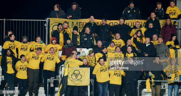 Fans of AC Horsens cheer during the Danish Alka Superliga match between Randers FC and Hobro IK at BioNutria Park on February 18 2018 in Randers...