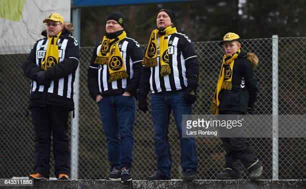Fans of AC Horsens watching the game during the Danish Alka Superliga match between Silkeborg IF and AC Horsens at Mascot Park on February 18 2017 in...