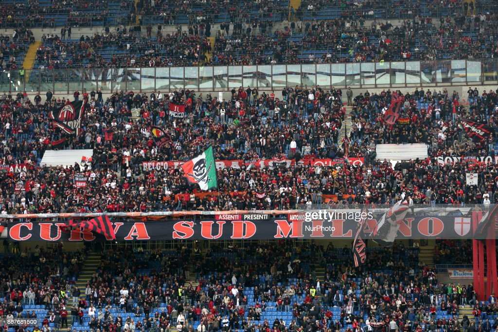 Fans of AC Milan before the Serie A football match between AC Milan and Juventus FC on 28 October 2017 at Giuseppe Meazza stadium in Milan, Italy.