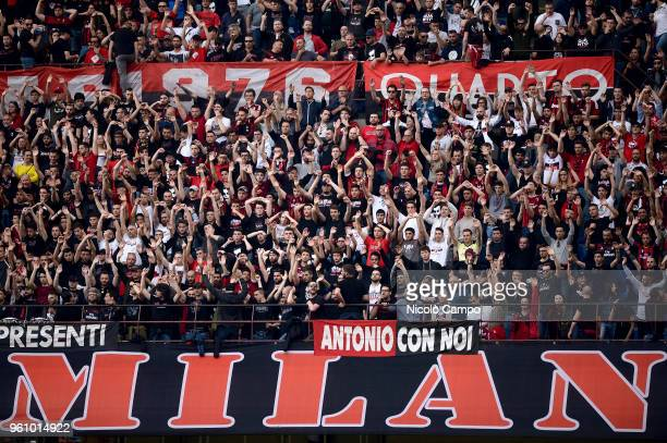 Fans of AC Milan show their support during the Serie A football match between AC Milan and ACF Fiorentina AC Milan won 51 over ACF Fiorentina