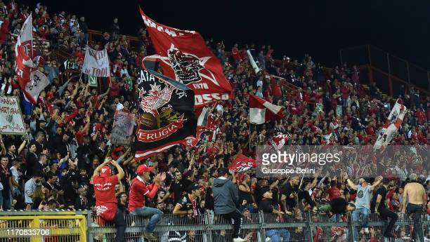 Fans of AC Perugia celebrate the victory after the Serie B match between AC Perugia and Frosinone at Stadio Renato Curi on September 24, 2019 in...
