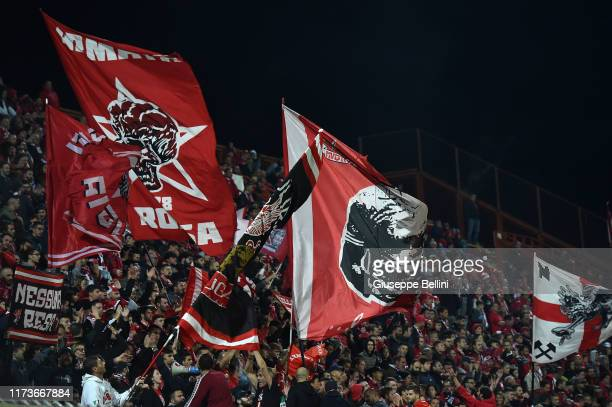 Fans of AC Perugia during the Serie B match between AC Perugia and Pisa SC at Stadio Renato Curi on October 4, 2019 in Perugia, Italy.