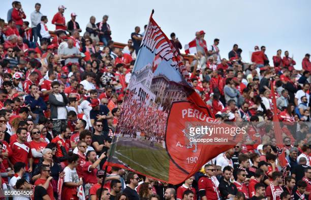 Fans of AC Perugia during the Serie B match between AC Perugia and Pro Vercelli at Stadio Renato Curi on October 8 2017 in Perugia Italy