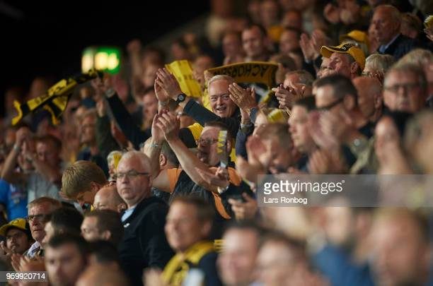 Fans of AC worsens celebrate after the Danish Alka Superliga match between AC Horsens and Brondby IF at CASA Arena Horsens on May 18 2018 in Horsens...
