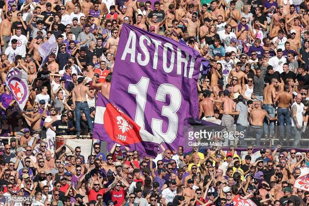 Fans of ACF Fiorentina cheer for their team during the Serie A match between ACF Fiorentina and Atalanta BC at Stadio Artemio Franchi on September 30...