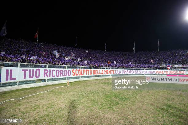 Fans of ACF Fiorentina cheer their team during the Coppa Italia match between ACF Fiorentina and Atalanta BC on February 27 2019 in Florence Italy