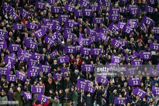 Fans of ACF Fiorentina during the Coppa Italia match between ACF Fiorentina and Atalanta BC on February 27 2019 in Florence Italy