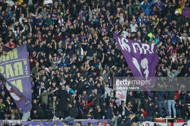 Fans of ACF Fiorentina during the Serie A match between ACF Fiorentina and Parma Calcio at Stadio Artemio Franchi on November 3, 2019 in Florence,...