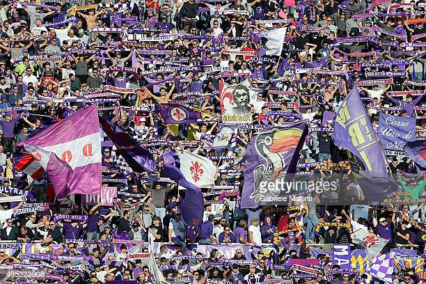 Fans of ACF Fiorentina during the Serie A match between ACF Fiorentina and Frosinone Calcio at Stadio Artemio Franchi on November 1 2015 in Florence...