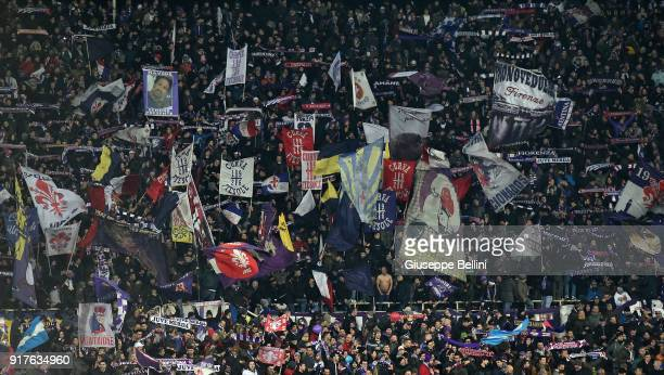 Fans of ACF Fiorentina during the serie A match between ACF Fiorentina and Juventus at Stadio Artemio Franchi on February 9 2018 in Florence Italy