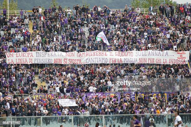 Fans of ACF Fiorentina during the Serie A match between ACF Fiorentina and Empoli FC at Stadio Artemio Franchi on April 15 2017 in Florence Italy