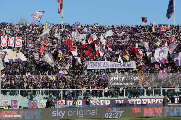 Fans of ACF Fiorentina during the Serie A match between ACF Fiorentina and SPAL at Stadio Artemio Franchi on January 12 2020 in Florence Italy