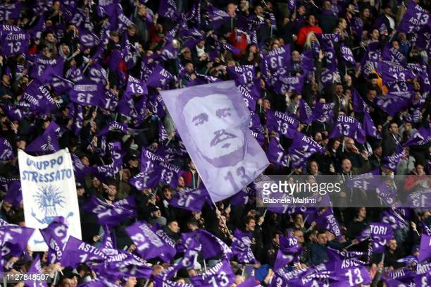 Fans of ACF Fiorentina wave flags during the Coppa Italia match between ACF Fiorentina and Atalanta BC on February 27 2019 in Florence Italy