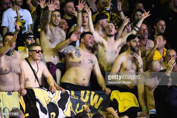 Fans of AEK Athens during the Champions League match between Strasbourg and AEK Athens on April 4 and 2018 in Strasbourg and France
