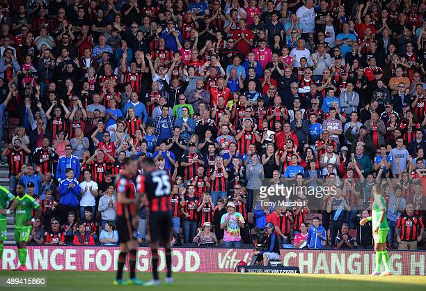 Fans of AFC Bournemouthwatching the match during the Barclays Premier League match between AFC Bournemouth and Sunderland at the Vitality Stadium on...